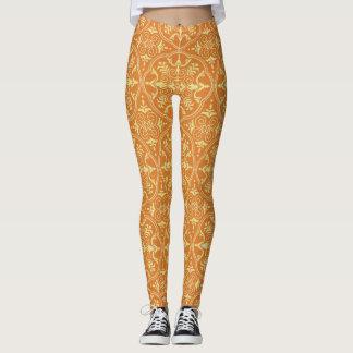 Leuchtorange und Gelb Leggings
