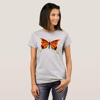 Leuchtorange-und Goldschmetterling T-Shirt