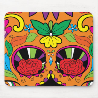 Leuchtorange-und Grün-mexikanische Kunst-Art Mousepad