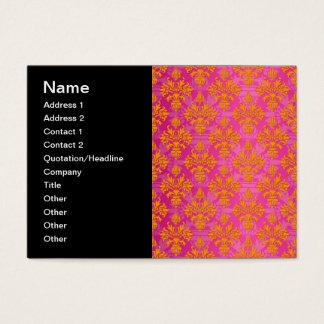 Leuchtorange und Rosa-Blumendamast Visitenkarte
