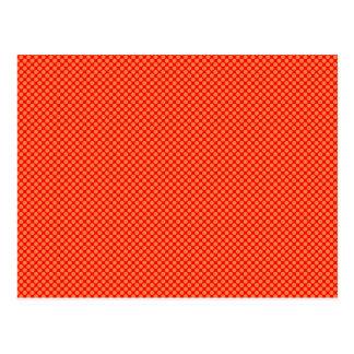 Leuchtorange und rotes MiniTupfen-Muster Postkarte