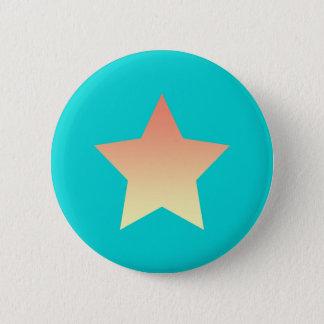 Leuchtorangestern auf Blau Runder Button 5,7 Cm