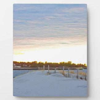 Leuchtturm am Sonnenuntergang Fotoplatte