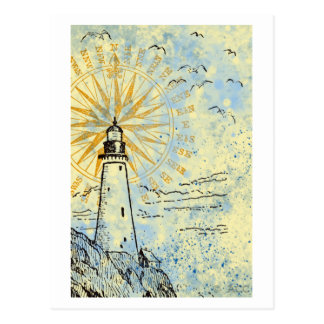 Leuchtturm auf Klippe, Ozeanseespray, Seemöwen Postkarte