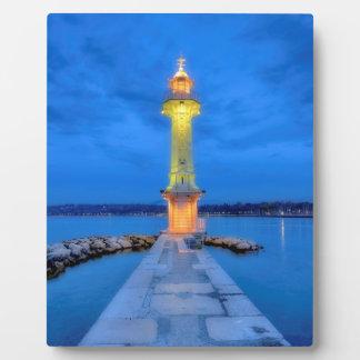 Leuchtturm beim Paquis, Genf, die Schweiz Fotoplatte