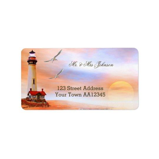 Leuchtturm-Sonnenuntergang-Adressen-Etikett Adressaufkleber