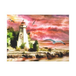 Leuchtturm-Wasserfarbe-Druck Leinwanddruck
