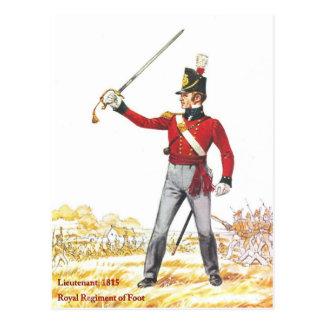 Leutnant 1815, königliches Regiment des Fußes Postkarte