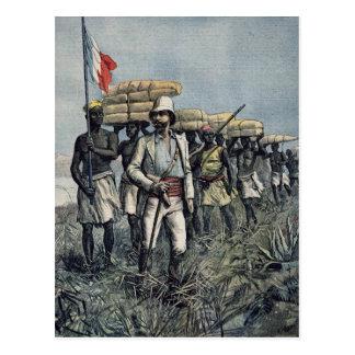 Leutnant Mizon auf seiner Dienstreise 1892 Postkarte