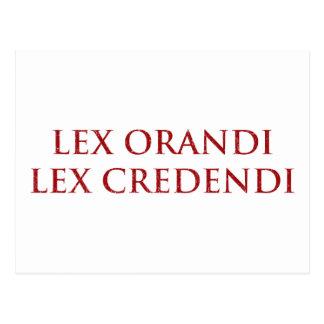 Lex Orandi Lex Credendi im Rot beunruhigt Postkarte