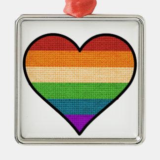 LGBT Regenbogen-Herz-Feiertags-Verzierung Silbernes Ornament
