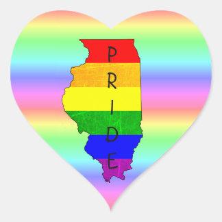 LGBT Regenbogen-Illinois-Stolz-Herz-Aufkleber Herz-Aufkleber