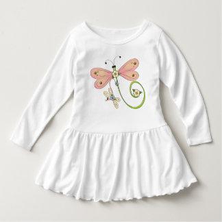 Libellen-rosa blaues Grün-Insekten-Kleid Kleid