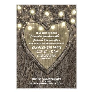 Licht-Eichen-Baum-Barken-Verlobungs-Party Karte