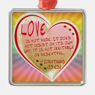 LIEBE 1 Korinther 13: 5 ESV Quadratisches Silberfarbenes Ornament