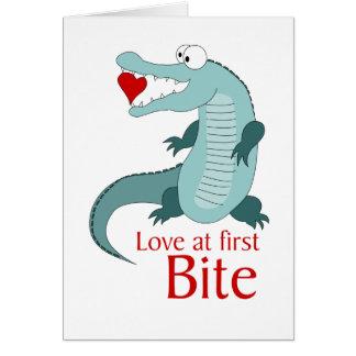 Liebe am ersten Biss Grußkarte