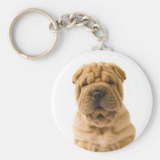 Liebe-Chinese Shar Pei Welpen-Hund Keychain Standard Runder Schlüsselanhänger