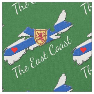 Liebe das Ostküsten-Herz-Neuschottland-Gewebegrün Stoff