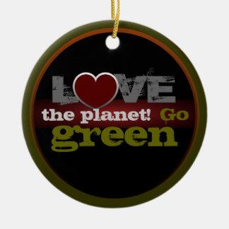 Liebe der Planet gehen Verzierung grüne Rundes Keramik Ornament