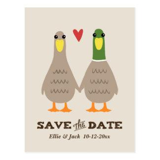 Liebe duckt Wedding Save the Date Postkarte