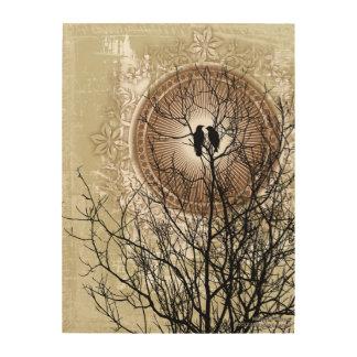 Liebe-ewige Vögel auf hölzerner Leinwand Holzleinwände