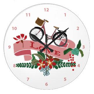 Liebe-Fahrrad-Blumenfahne Große Wanduhr