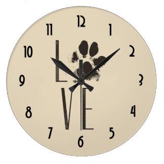 Liebe-Haustier-Tatzen-Druck-Browngrunge-Typografie Große Wanduhr
