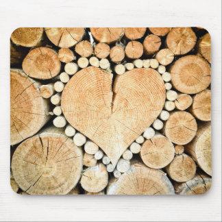 Liebe, Herz, hölzernes Mosaik Mousepads