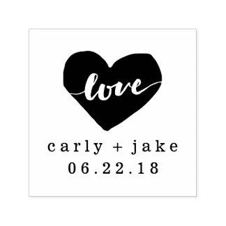 Liebe-Herz-personalisierte Hochzeits-Briefmarke Permastempel