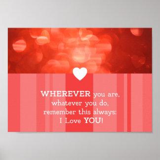 Liebe Hochzeitstag Jahrestag Geburtstag Herz rot Poster