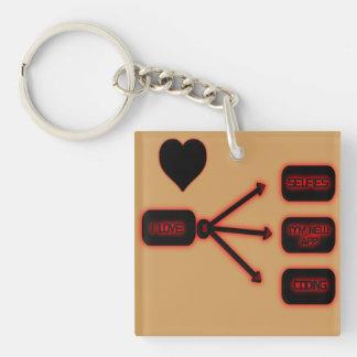 Liebe I… Beidseitiger Quadratischer Acryl Schlüsselanhänger