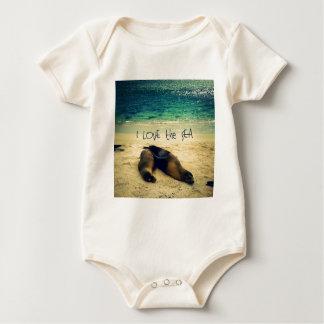 Liebe I der Seezitatstrand mit Seelöwen Baby Strampler