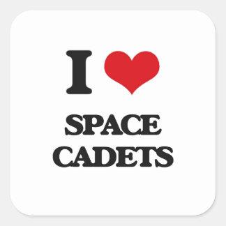 Liebe I Raum-Kadetten Quadratischer Aufkleber