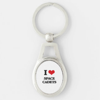 Liebe I Raum-Kadetten Silberfarbener Oval Schlüsselanhänger