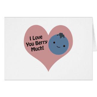 Liebe I Sie Beere viel Blaubeere Mitteilungskarte