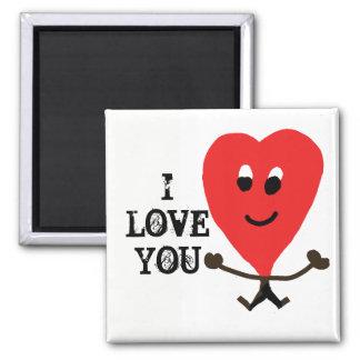 Liebe I Sie Magnet mit einem glücklichen Herzen Quadratischer Magnet