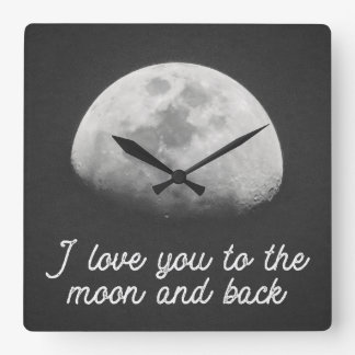 Liebe I Sie zum Mond und zur hinteren Uhr