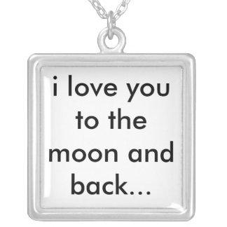 Liebe I Sie zum Mond und zur Rückseite… Halskette Mit Quadratischem Anhänger