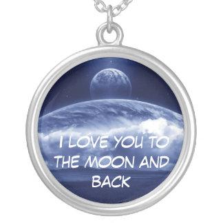 Liebe I Sie zum Mond und zur Rückseite Halskette Mit Rundem Anhänger
