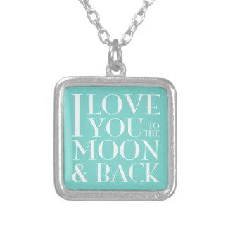 Liebe I Sie zum Mond und zur Rückseite Versilberte Kette