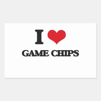 Liebe I Spiel-Chips Rechrteckaufkleber