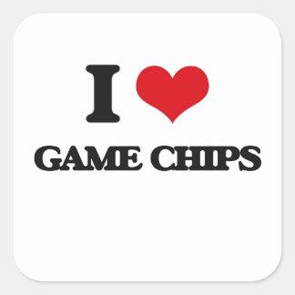 Liebe I Spiel-Chips Quadrataufkleber