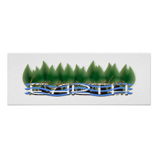 Liebe Ihre Mutter-Erde: Grün-Blätter u. Wasser Poster