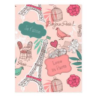 Liebe im Paris-Muster-Rosa Postkarte