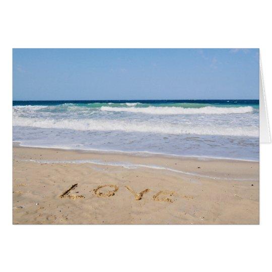 Liebe in den Sand geschrieben - Grußkarte