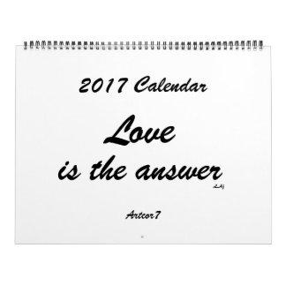 Liebe ist der Antwort-2017 das Kalender-weiße Wandkalender