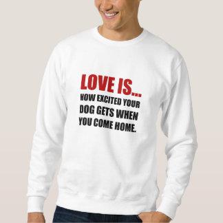 Liebe ist der aufgeregte Hund kommen Zuhause Sweatshirt