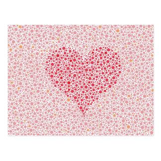 Liebe ist Farbblinde Herz-Silhouette Postkarte