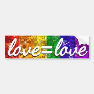 Liebe ist Gay Pride-Glitter-Regenbogen-Flagge der Autoaufkleber