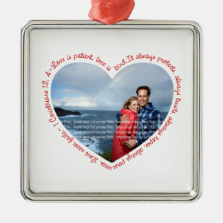 Liebe ist geduldiges Foto-Herz-Weiß u. Rot Quadratisches Silberfarbenes Ornament